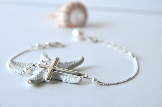 Easter Gifts/Sideways Cross Bracelet, Dainty Silver Double Looped Cross Bracelet:) Simple Dainty Gifts, Gifts for Her, Gifts for Teens