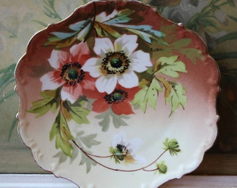 Early French Flambeau Limoges Hand Painted Floral Plate