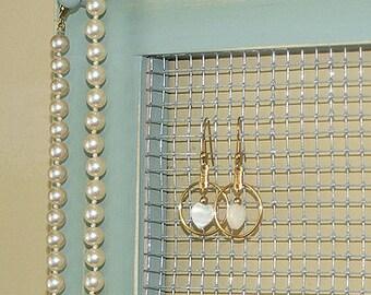 Earring Frame Holder Wall Organizer Frame Necklace Hanging Holder Large Gray Jade