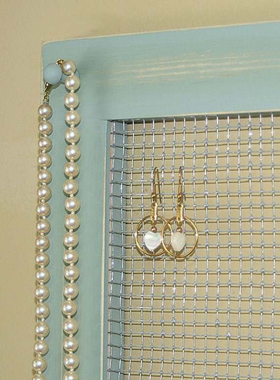 Earring frame holder wall organizer frame necklace hanging for Picture frame organization wall