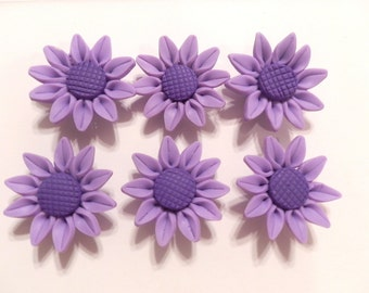 10 Fimo Polymer Clay Purple Sunflower Flower Fimo Beads 30mm