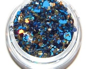 Night Lights Blue and Gold Sparkle Mix, Solvent Resistant Glitter Mix: 5 GRAM JAR. Raw Nail Glitter Mix for Nail Polish and Nail Art