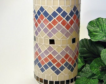 Stained glass mosaic vase or pillar candle holder salmon pink lavender khaki brown