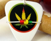 Guitar Pick Necklace  - Rasta Marijuana Leaf