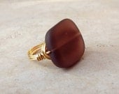 Purple Sea Glass Ring:  24K Gold Wire Wrapped Amethyst Plum Beach Jewelry, Size 7