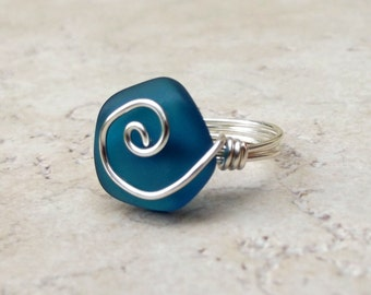 Peacock Blue Sea Glass Ring:  Silver Swirl Wire Wrapped Beach Jewelry, Size 6, Teal Wedding