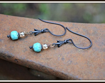 Art Deco Earrings in Turquoise Blue and Bronze