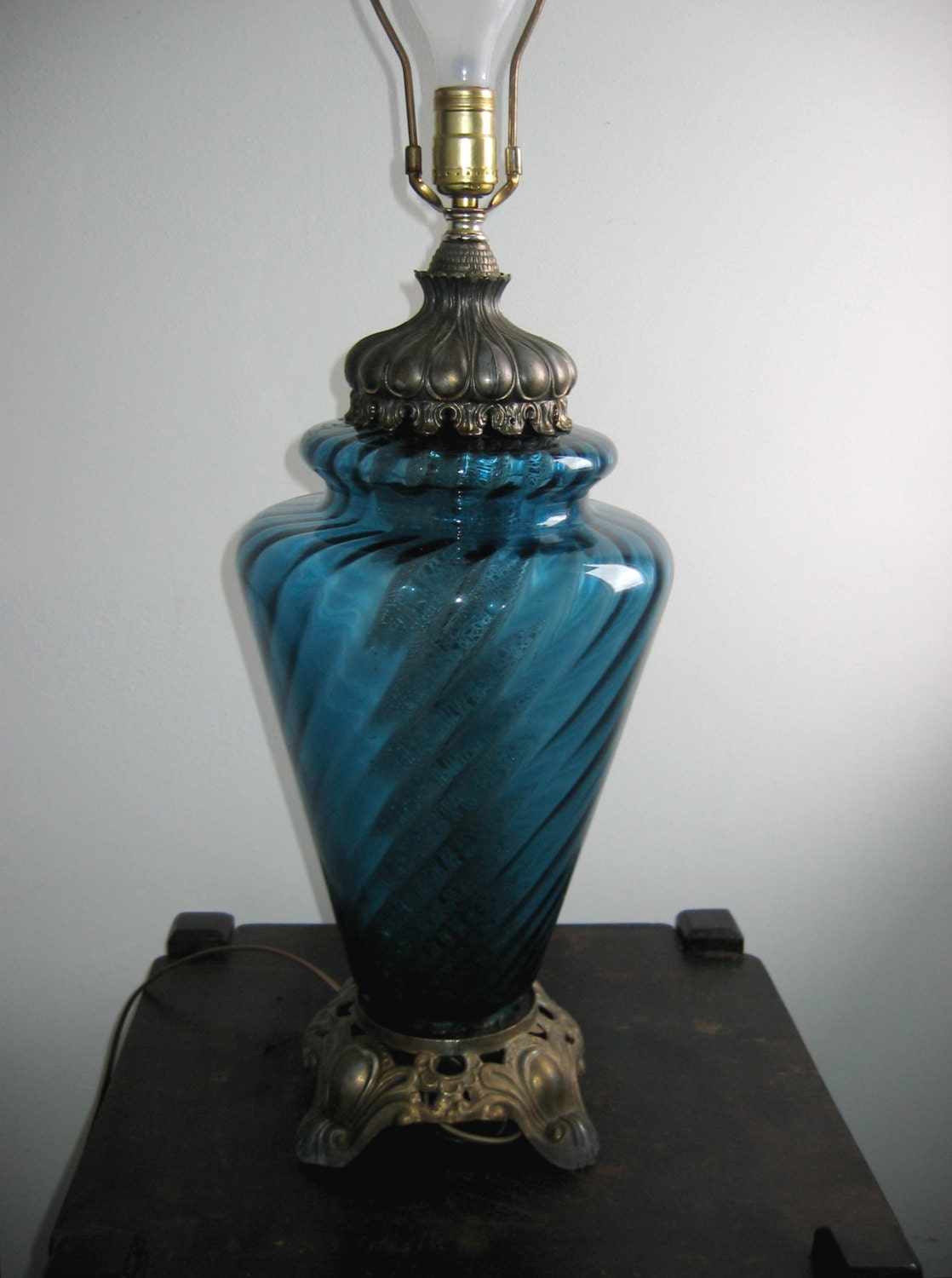 Large Blue Glass Table Lamp Vintage 1960 S Hollywood