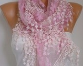 ON SALE - Pink Lace Scarf Women Shawl Scarf -  Cowl Scarf - Bridesmaid Gift- fatwoman