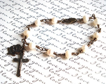 Rosary Bracelet - Pearl Rosary Bracelet - Unbreakable Rosary Bracelet - Vintaj Natural Brass -  Made in USA