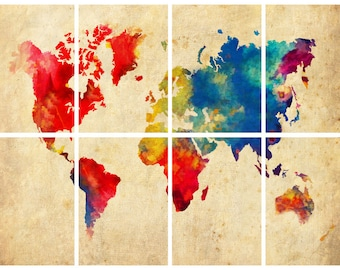 "World Map Watercolor Abstract Grunge - 8 Panel - 11"" x 14"" Prints Print Poster"
