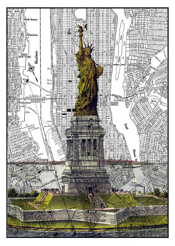 stadtplan new york city und freiheitsstatue collage von. Black Bedroom Furniture Sets. Home Design Ideas