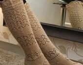 Camel beige  knee socks with beautiful lacy pattern, 100% alpaca