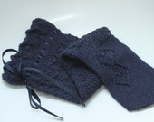 Dark Indigo knee socks with beautiful lacy pattern, 100% alpaca