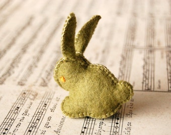 Olive Green FELTED BUNNY Rabbit TOY -- Handmade felt pure wool unique soft animal sculpture