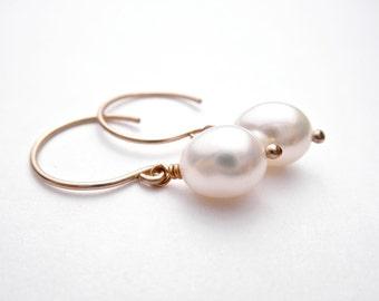 White Freshwater Pearl Drop Earrings - 14k Gold Fill or Sterling Silver