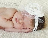 Crochet Headband Pattern: 'Wee Whimsies' Crochet Fascinator, Birdcage Veil, Christening, Photo Prop, Crochet Rose, Pearls