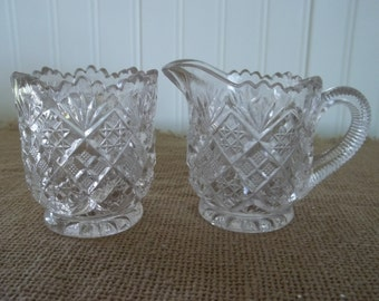 Small Vintage Cut Glass Sugar and Cream Pair