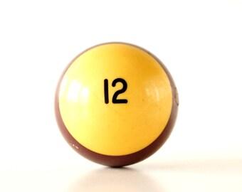 "Vintage Purple Striped 12 Pool Ball / Billiard Ball, Standard Regulation Size (2-1/4"") - Collectible, Home Decor, Altered Art"