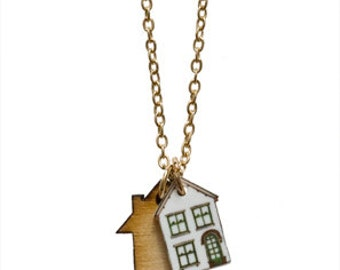 SALE Tiny Houses Charm necklace. 50% OFF!