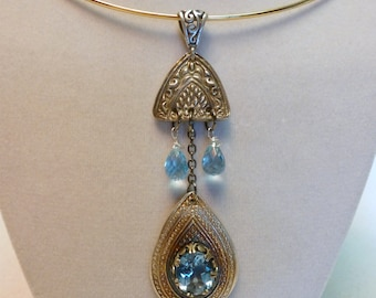 Handcrafted Fine Silver .999 Pendant with Natural Blue Topaz Gemstones