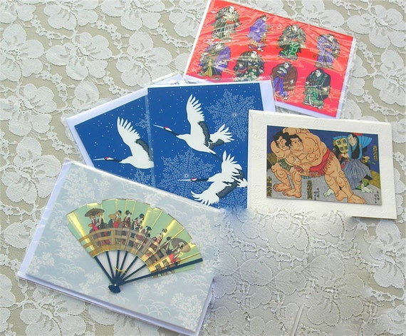 5 Assorted Japanese Note Cards - 2 cranes, 2 sumo, 1 real fan