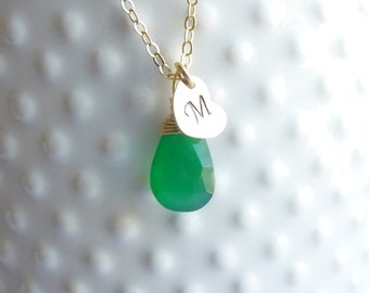 Birthstone and Initial Heart Gold Necklace -- 14k Gold Filled  -- Emerald Green Onyx Shown --  Bridesmaids -- Personalized