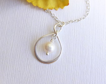 Sterling Silver Infinity Charm with Freshwater Pearl Necklace -- Bridesmaids Gift -- Mother of the Bride Groom