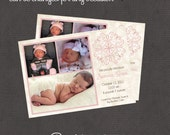 Pink Vintage Baby Girl Announcement 5x7 digital you print your own- Design 77
