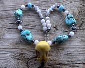 2 inch resin eagle skull,quartz,blue agate,magnesite,hematite,glass necklace 22 inch