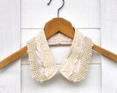 Peter Pan Collar Necklace Champagne Cream Lace and pearl Wedding Bridal Vintage style