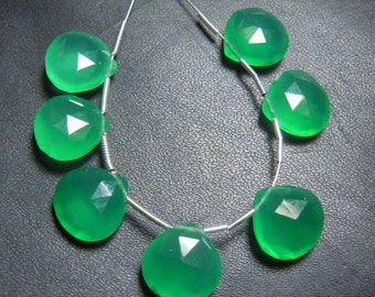 Green Onyx Briolette Faceted  Heart Drops AAA quality 7Pc  Size- 12x12MM Wholesale Price