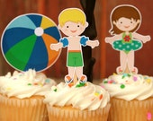 Pool Party Summer Cupcake Toppers Set of 12