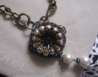 Blue and White Vintage Brooch Repurposed Necklace