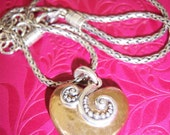 Beautiful Sterling Silver over Brass Heart Necklace