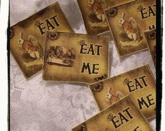 Alice In Wonderland EaT Me Tags ( set Of 12)