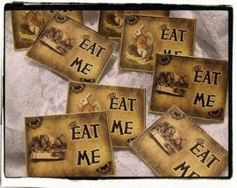 Cute Alice In Wonderland EaT Me Tags ( set Of 12)