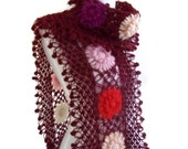 crochet scarf, crochet flower scarf, turkish scarf style, unique gift, valentines day,mothers day, burgundy