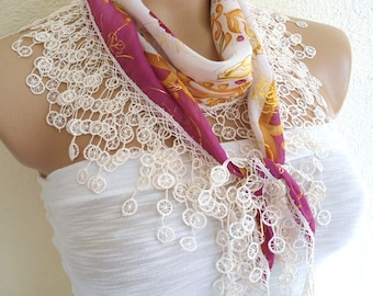 Necklace scarves, Traditional Turkish-style, Headband, scarf, Ivory floral, fashion 2014, Mothers day