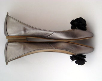 Small Black Ruffle Flower Shoe Clips FREE SHIPPING