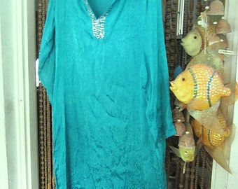Gorgeous Long Delicately Sequined Caftan Dress Shaded Greenish-Turquoise , Vintage - Medium to Large