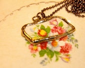 Broken China Spring Floral Pendant and Chain Necklace
