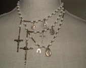 RESERVED FOR NAOMIYAN  Unusual Vintage White Rosary 3 Strand  Necklace
