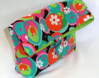 Cosmetic Bag, Clutch Purse, Makeup Bag, Purse Organizer, Fabric Bag, Toiletry Bag, Green, Blue, Circles, Polkadots