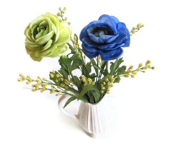 Silk Floral Arrangement In a Cream Color Pitcher Vase With A Minty Green And A Blue Flower