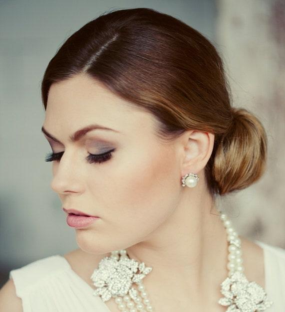 Wedding Pearls Stud Earrings Bridal Party Crystal Pearls