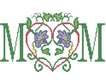 Counted Cross Stitch Pattern Mom Heart Floral