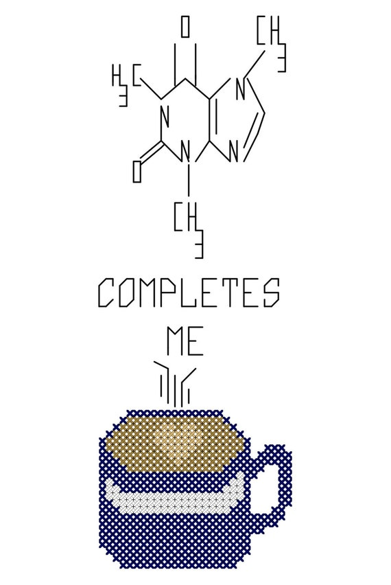 Caffeine Completes Me Cross Stitch PDF pattern Immediate Downloading Coffee Love