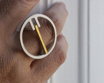 Ring Qt in silver with 18kt yellow gold
