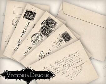 Shabby Chic Postcard Envelopes Envelopes Printable Envelopes instant download digital collage sheet VD0337